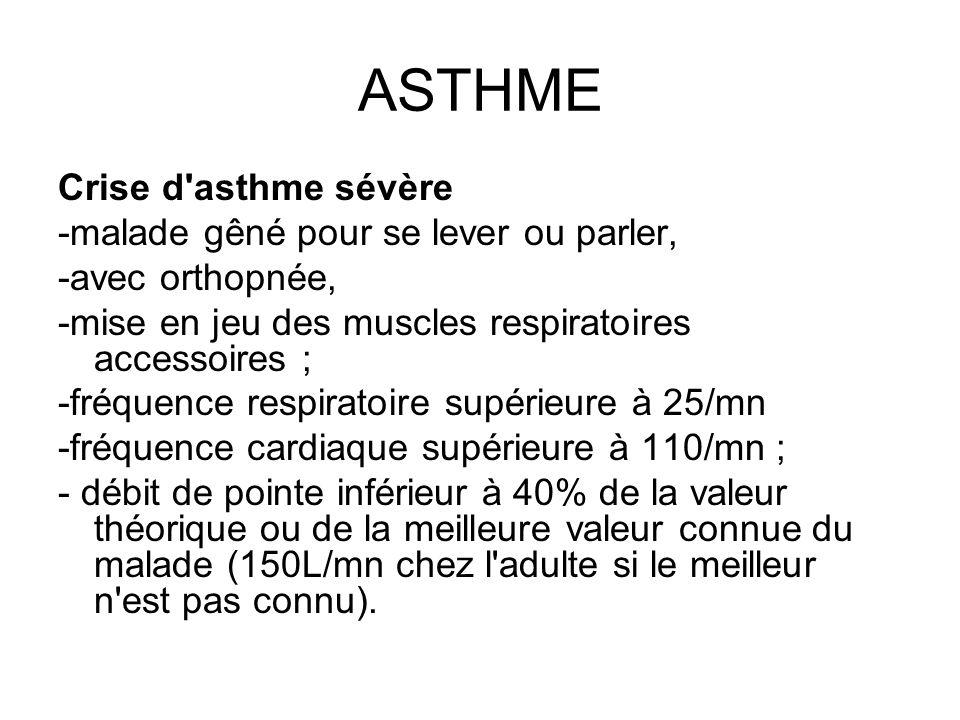 ASTHME Crise d'asthme sévère -malade gêné pour se lever ou parler, -avec orthopnée, -mise en jeu des muscles respiratoires accessoires ; -fréquence re