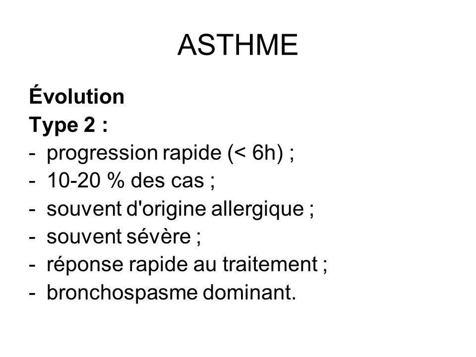 ASTHME Évolution Type 2 : -progression rapide (< 6h) ; -10-20 % des cas ; -souvent d'origine allergique ; -souvent sévère ; -réponse rapide au traitem