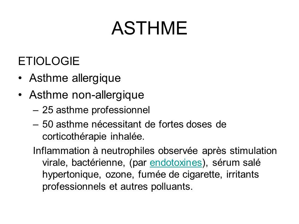 ASTHME ETIOLOGIE Asthme allergique Asthme non-allergique –25 asthme professionnel –50 asthme nécessitant de fortes doses de corticothérapie inhalée. I