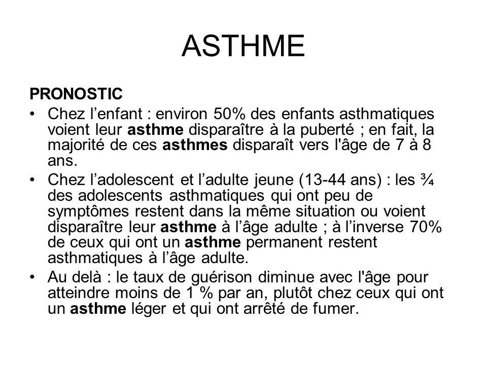 ASTHME PRONOSTIC Chez lenfant : environ 50% des enfants asthmatiques voient leur asthme disparaître à la puberté ; en fait, la majorité de ces asthmes