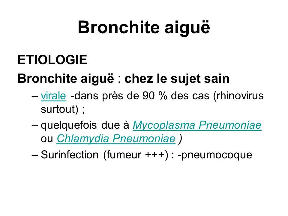 Bronchite aiguë ETIOLOGIE Bronchite aiguë : chez le sujet sain –virale -dans près de 90 % des cas (rhinovirus surtout) ;virale –quelquefois due à Myco