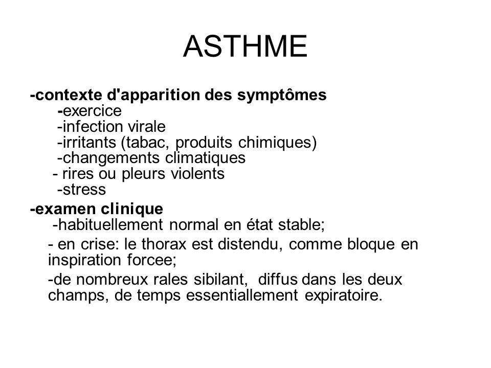 ASTHME -contexte d'apparition des symptômes -exercice -infection virale -irritants (tabac, produits chimiques) -changements climatiques - rires ou ple