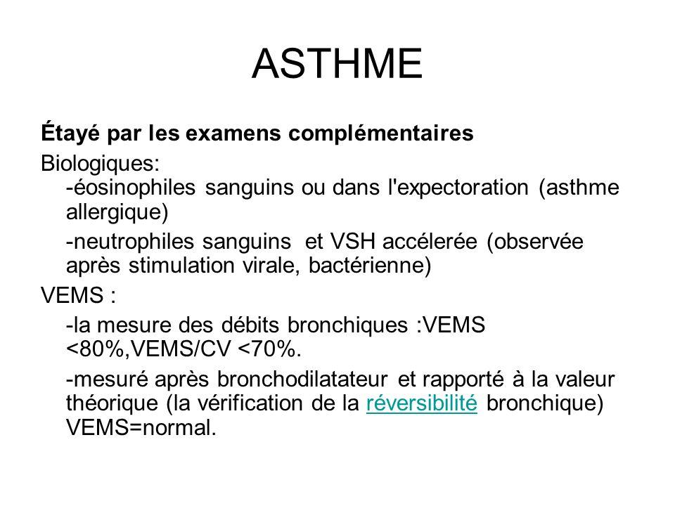 ASTHME Étayé par les examens complémentaires Biologiques: -éosinophiles sanguins ou dans l'expectoration (asthme allergique) -neutrophiles sanguins et