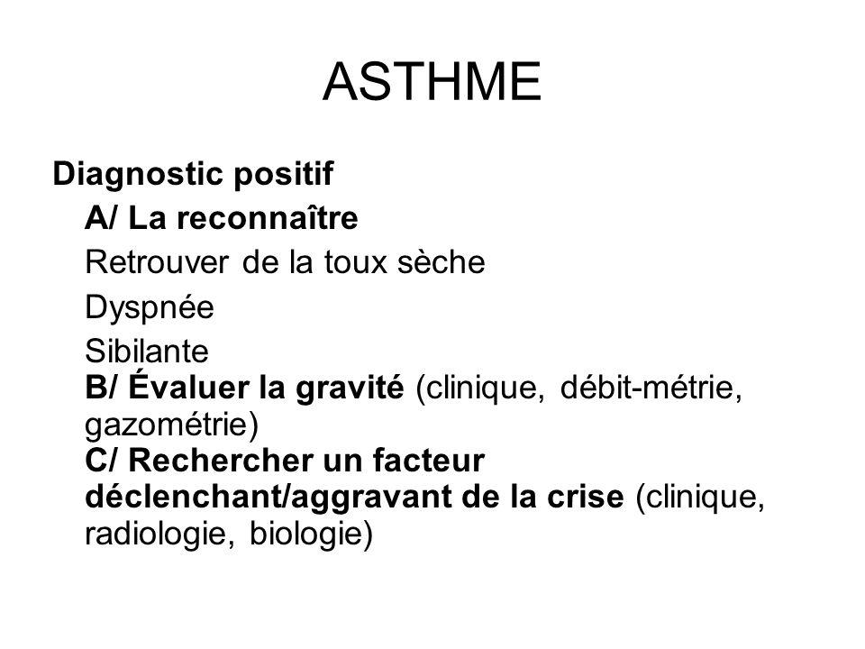 Diagnostic positif A/ La reconnaître Retrouver de la toux sèche Dyspnée Sibilante B/ Évaluer la gravité (clinique, débit-métrie, gazométrie) C/ Recher