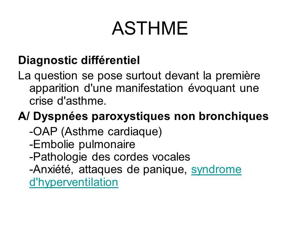 ASTHME Diagnostic différentiel La question se pose surtout devant la première apparition d'une manifestation évoquant une crise d'asthme. A/ Dyspnées