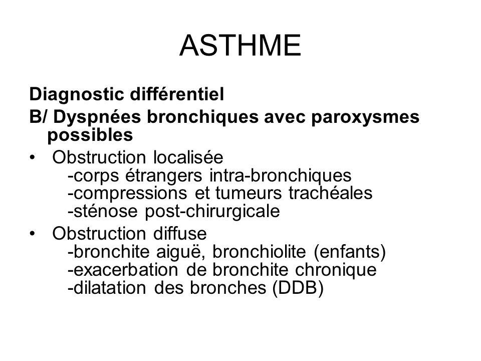 ASTHME Diagnostic différentiel B/ Dyspnées bronchiques avec paroxysmes possibles Obstruction localisée -corps étrangers intra-bronchiques -compression