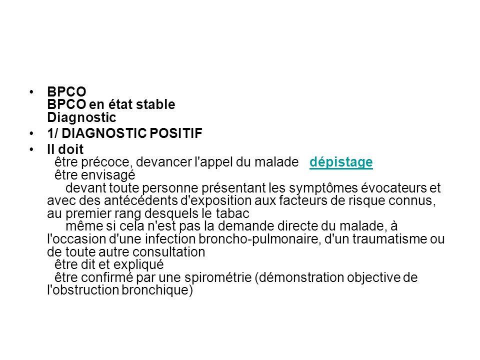 BPCO BPCO en état stable Diagnostic 1/ DIAGNOSTIC POSITIF Il doit être précoce, devancer l'appel du malade dépistage être envisagé devant toute person