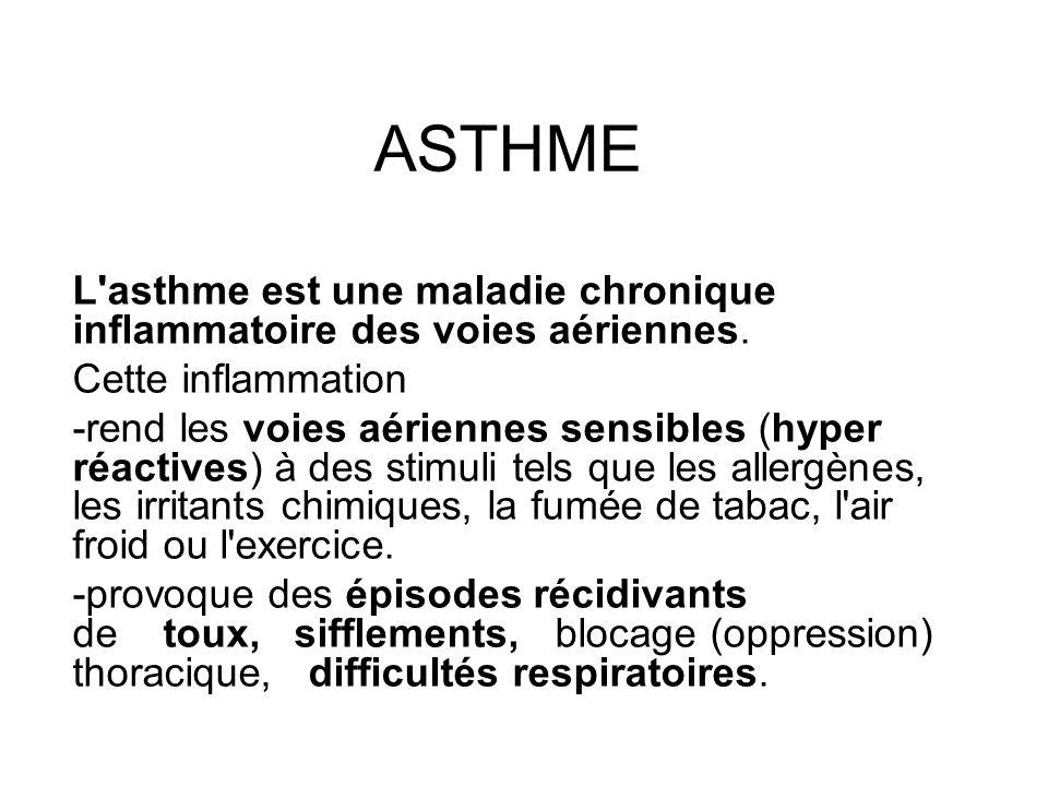 ASTHME L'asthme est une maladie chronique inflammatoire des voies aériennes. Cette inflammation -rend les voies aériennes sensibles (hyper réactives)