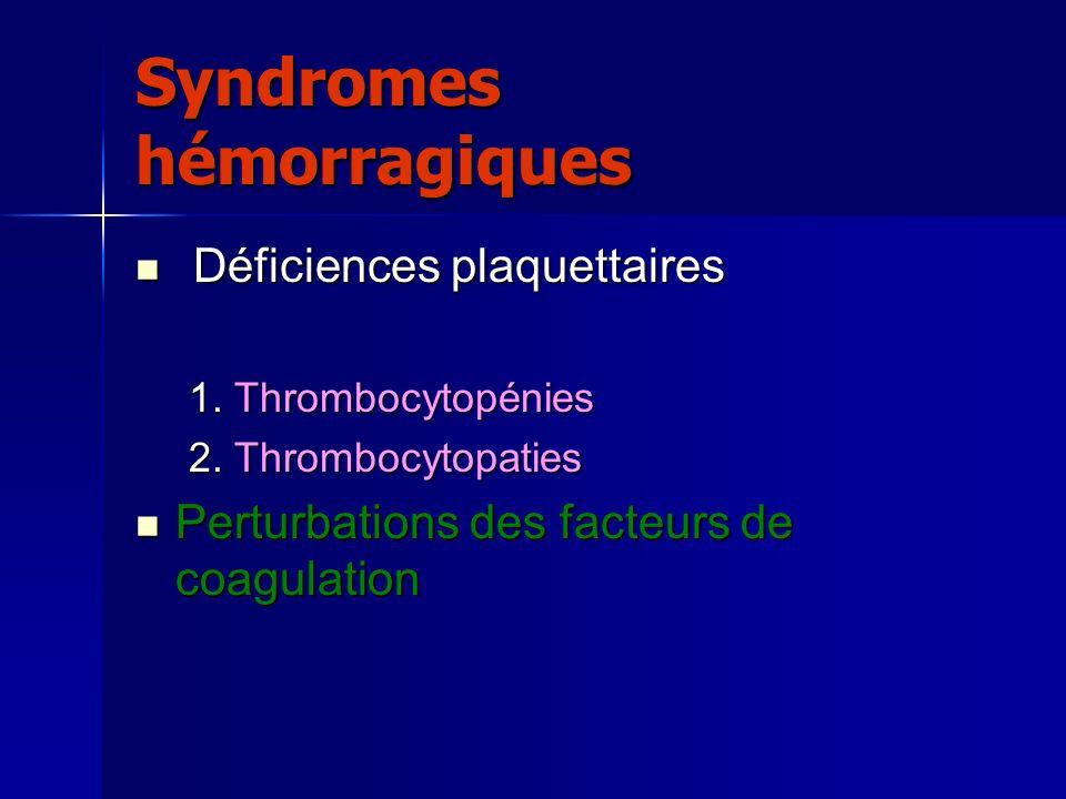 Syndromes hémorragiques Déficiences plaquettaires Déficiences plaquettaires 1.Thrombocytopénies 2.Thrombocytopaties Perturbations des facteurs de coag