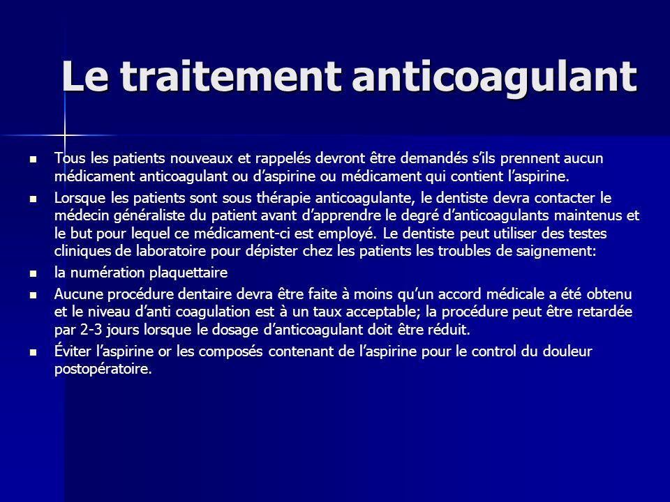 Le traitement anticoagulant Tous les patients nouveaux et rappelés devront être demandés sils prennent aucun médicament anticoagulant ou daspirine ou