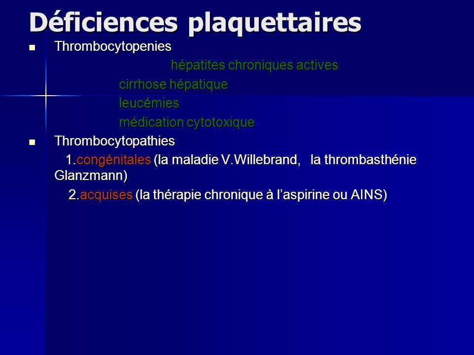 Déficiences plaquettaires Thrombocytopenies Thrombocytopenies hépatites chroniques actives cirrhose hépatique cirrhose hépatique leucémies leucémies m