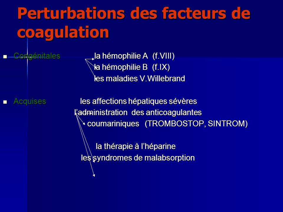 Perturbations des facteurs de coagulation Congénitales la hémophilie A (f.VIII) Congénitales la hémophilie A (f.VIII) la hémophilie B (f.IX) la hémoph