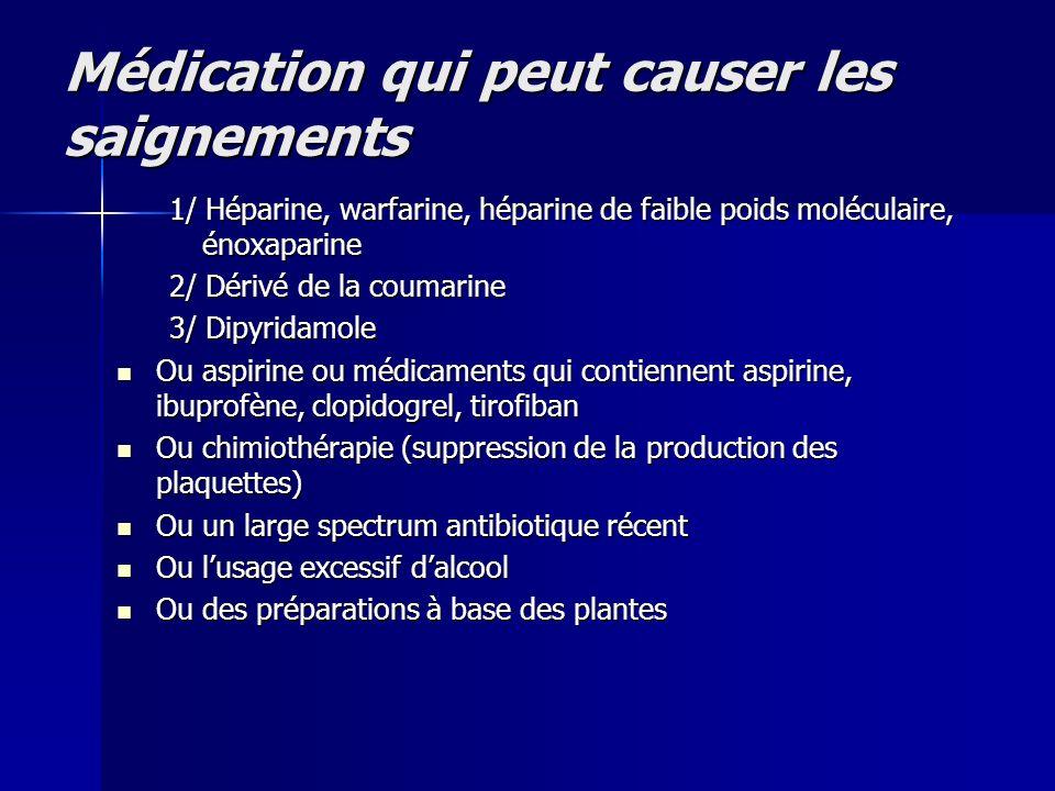 Médication qui peut causer les saignements 1/ Héparine, warfarine, héparine de faible poids moléculaire, énoxaparine 2/ Dérivé de la coumarine 3/ Dipy