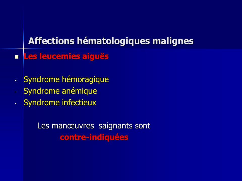 Affections hématologiques malignes Les leucemies aiguës Les leucemies aiguës - Syndrome hémoragique - Syndrome anémique - Syndrome infectieux Les manœ