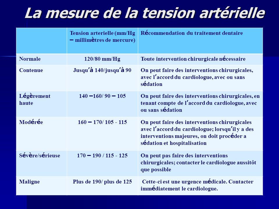 La mesure de la tension artérielle Tension arterielle (mm/Hg – millim è tres de mercure) R é commendation du traitement dentaire Normale120/80 mm/Hg T