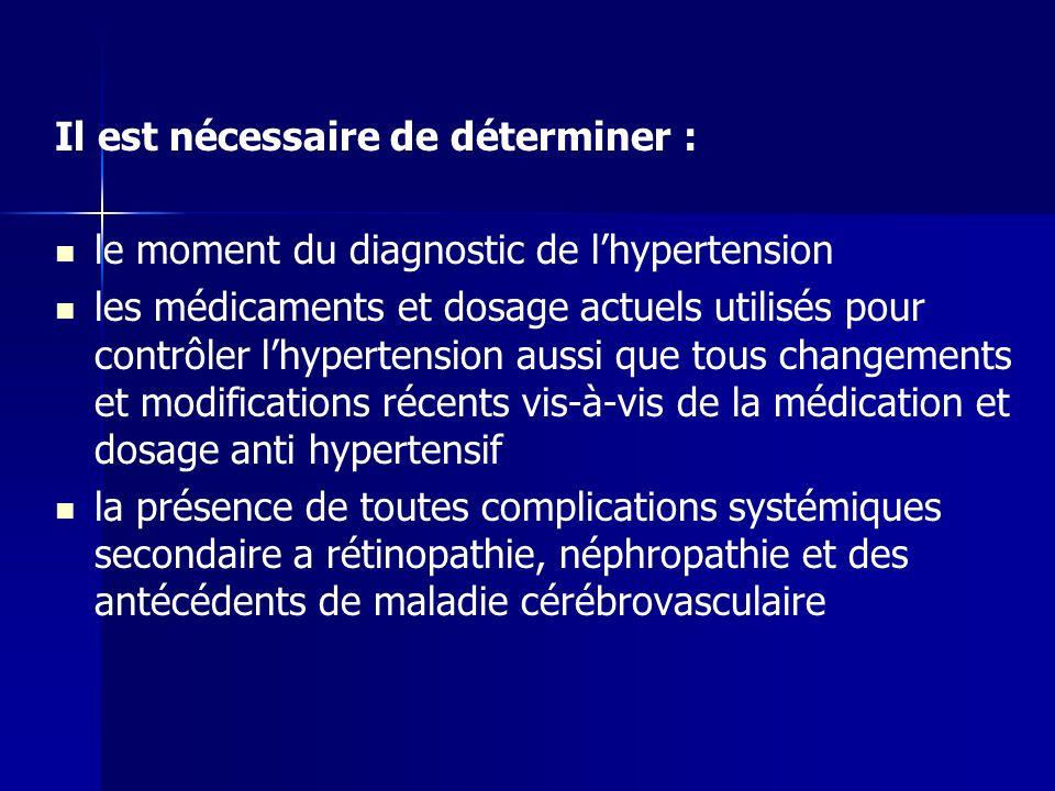 Il est nécessaire de déterminer : le moment du diagnostic de lhypertension les médicaments et dosage actuels utilisés pour contrôler lhypertension aus