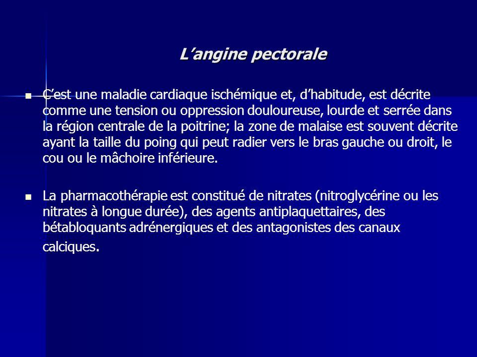 Langine pectorale Cest une maladie cardiaque ischémique et, dhabitude, est décrite comme une tension ou oppression douloureuse, lourde et serrée dans