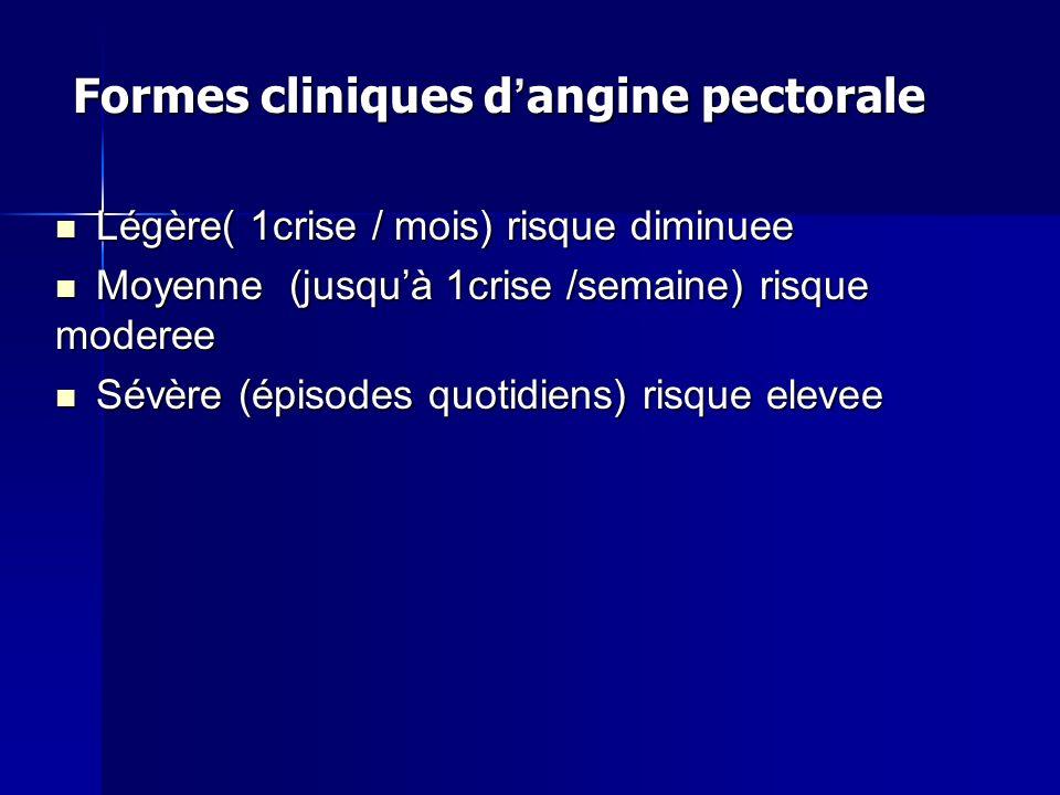 Formes cliniques d angine pectorale Légère( 1crise / mois) risque diminuee Légère( 1crise / mois) risque diminuee Moyenne (jusquà 1crise /semaine) ris