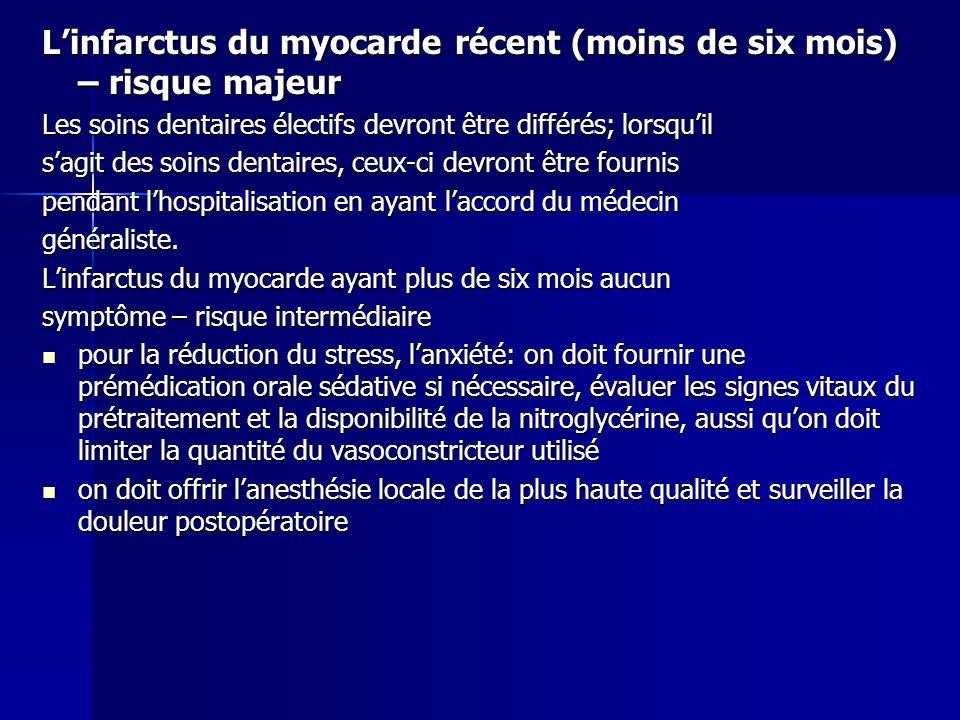Linfarctus du myocarde récent (moins de six mois) – risque majeur Les soins dentaires électifs devront être différés; lorsquil sagit des soins dentair