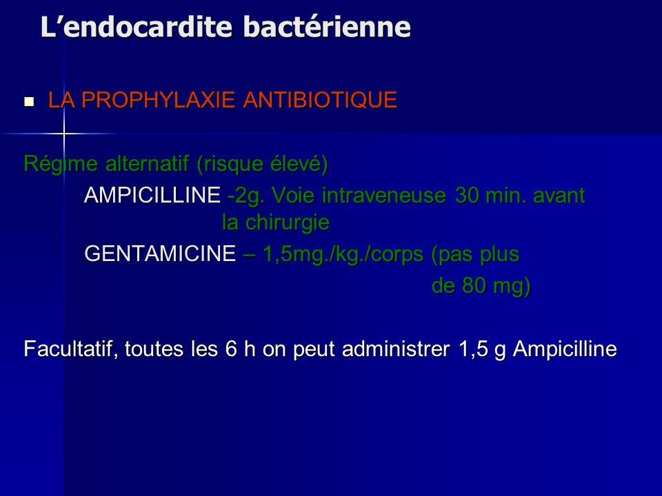 Lendocardite bactérienne LA PROPHYLAXIE ANTIBIOTIQUE LA PROPHYLAXIE ANTIBIOTIQUE Régime alternatif (risque élevé) AMPICILLINE -2g. Voie intraveneuse 3