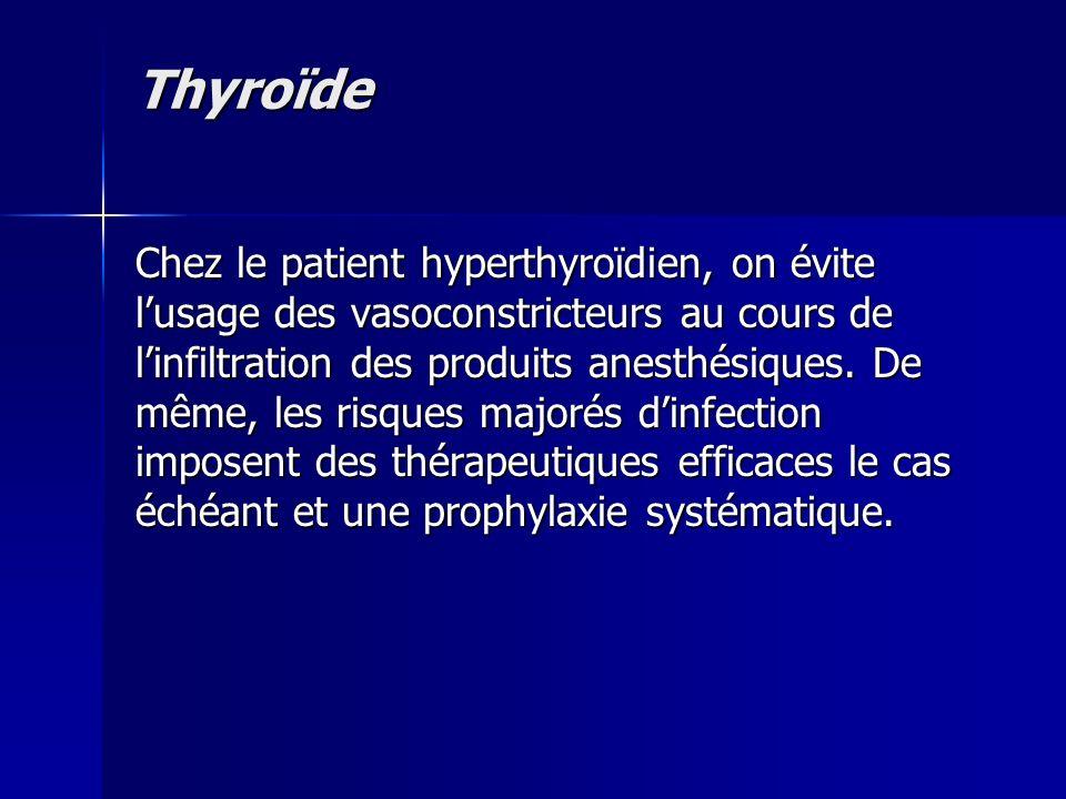 Thyroïde Chez le patient hyperthyroïdien, on évite lusage des vasoconstricteurs au cours de linfiltration des produits anesthésiques. De même, les ris