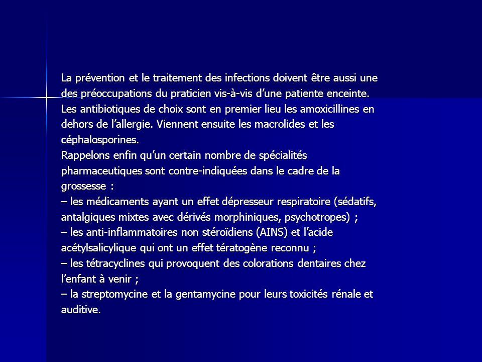 La prévention et le traitement des infections doivent être aussi une des préoccupations du praticien vis-à-vis dune patiente enceinte. Les antibiotiqu