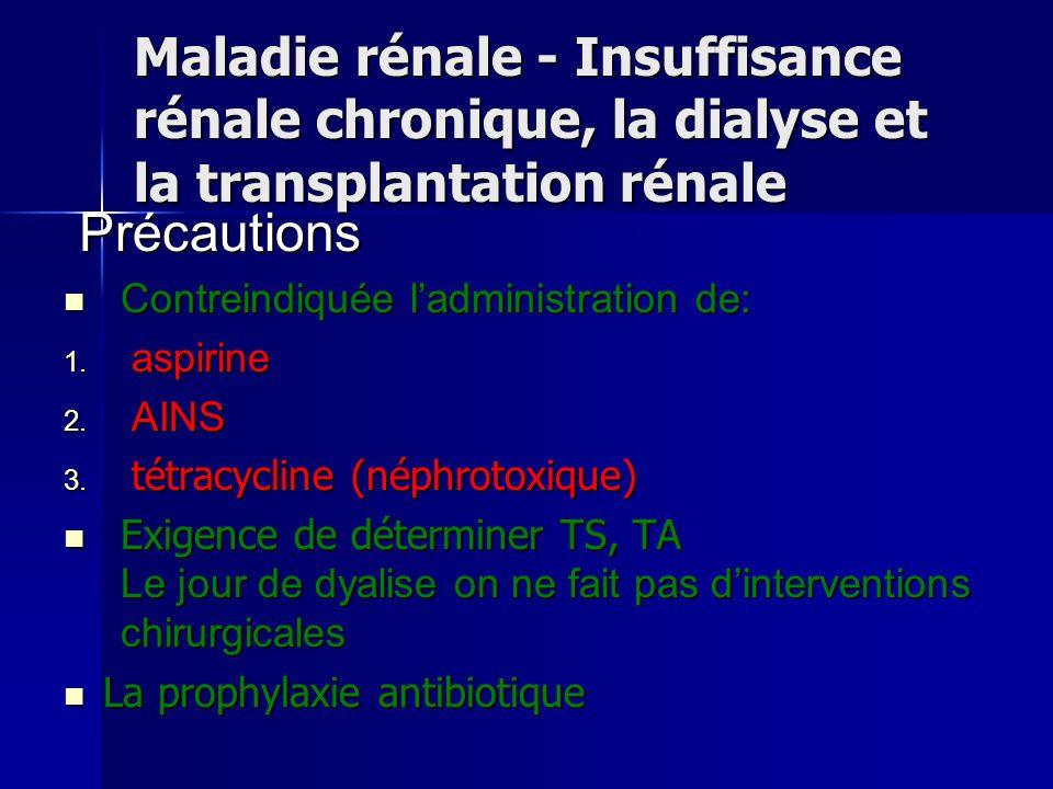Maladie rénale - Insuffisance rénale chronique, la dialyse et la transplantation rénale Précautions Précautions Contreindiquée ladministration de: Con