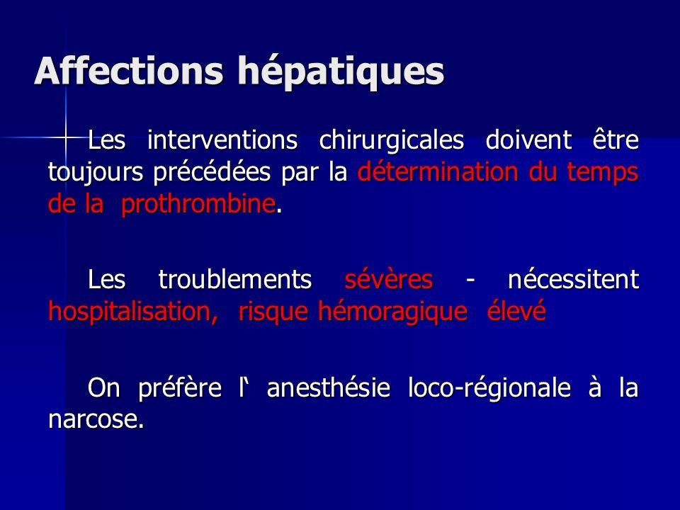 Affections hépatiques Les interventions chirurgicales doivent être toujours précédées par la détermination du temps de la prothrombine. Les troublemen