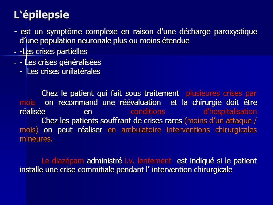 L épilepsie - est un symptôme complexe en raison d'une décharge paroxystique dune population neuronale plus ou moins étendue - -Les crises partielles