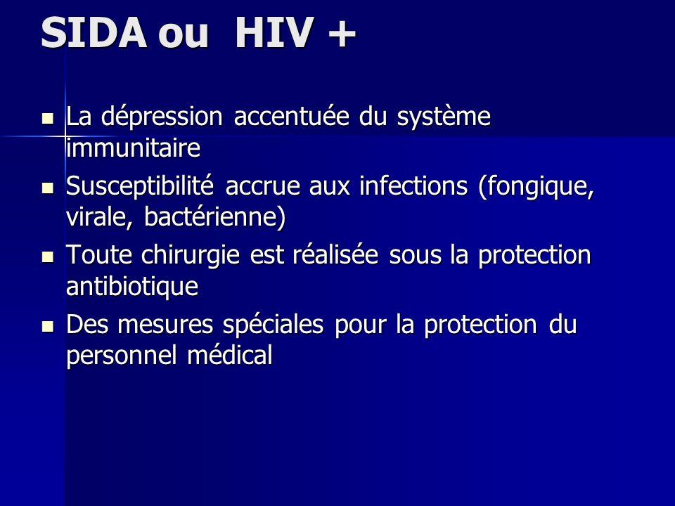 SIDA ou HIV + La dépression accentuée du système immunitaire La dépression accentuée du système immunitaire Susceptibilité accrue aux infections (fong