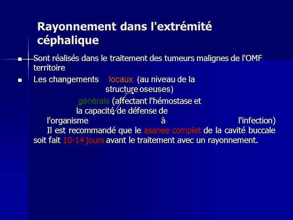 Rayonnement dans l'extrémité céphalique Sont réalisés dans le traitement des tumeurs malignes de l'OMF territoire Sont réalisés dans le traitement des