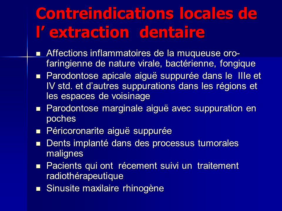 Contreindications locales de l extraction dentaire Affections inflammatoires de la muqueuse oro- faringienne de nature virale, bactérienne, fongique A