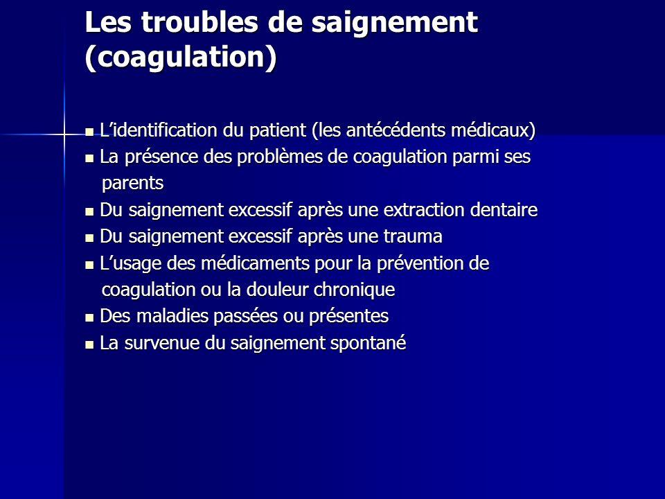 Les troubles de saignement (coagulation) Lidentification du patient (les antécédents médicaux) Lidentification du patient (les antécédents médicaux) L