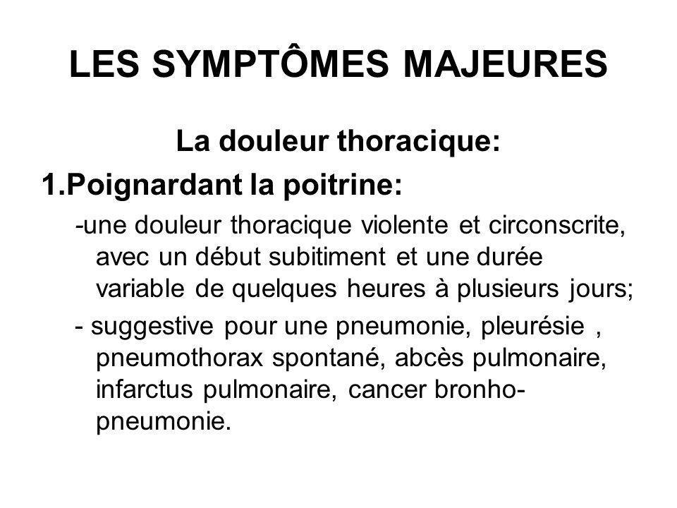LES SYMPTÔMES MAJEURES La douleur thoracique: 1.Poignardant la poitrine: -une douleur thoracique violente et circonscrite, avec un début subitiment et