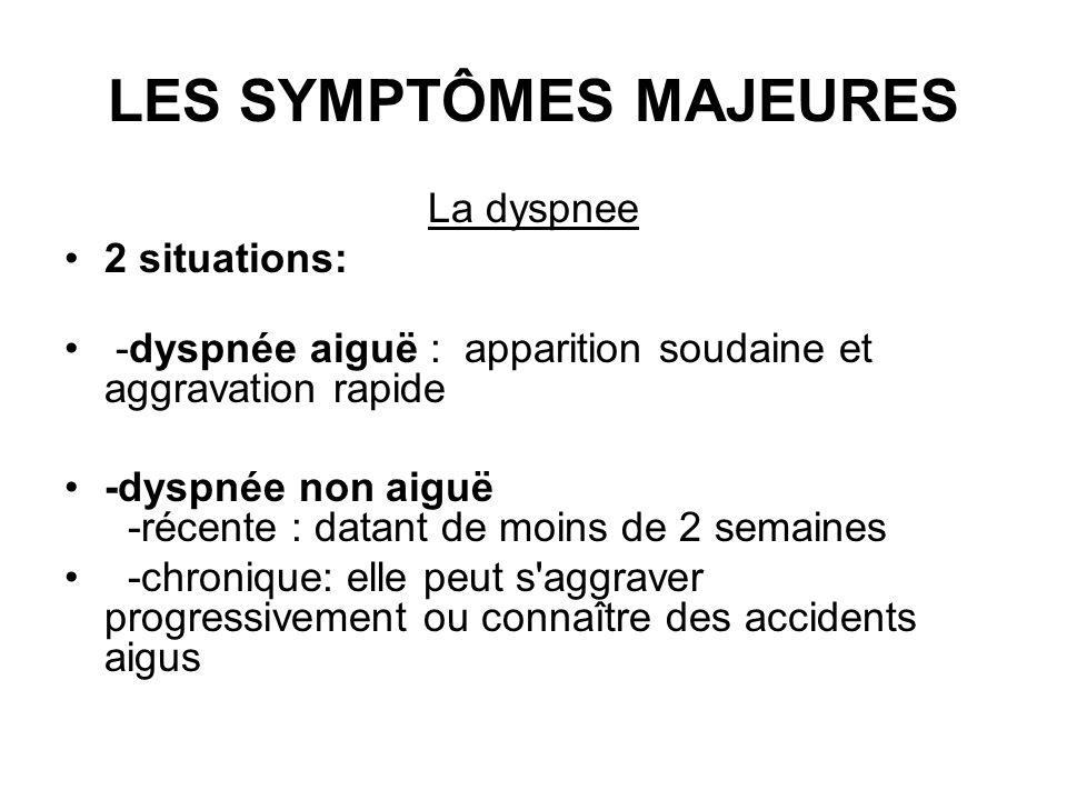 LES SYMPTÔMES MAJEURES La dyspnee 2 situations: -dyspnée aiguë : apparition soudaine et aggravation rapide -dyspnée non aiguë -récente : datant de moi