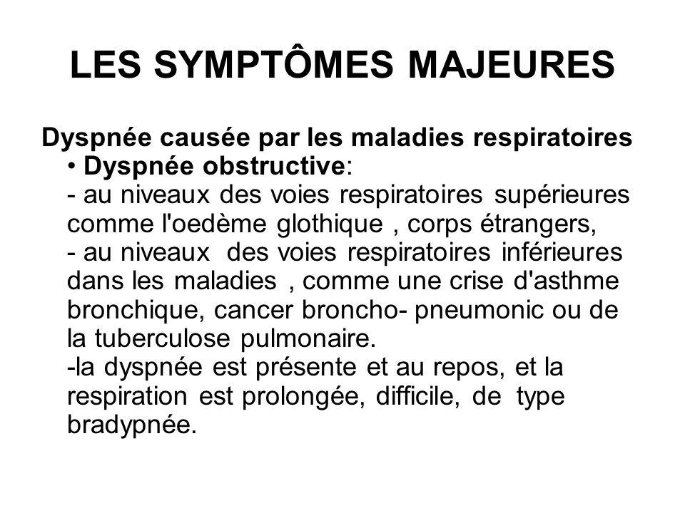 LES SYMPTÔMES MAJEURES Dyspnée causée par les maladies respiratoires Dyspnée obstructive: - au niveaux des voies respiratoires supérieures comme l'oed