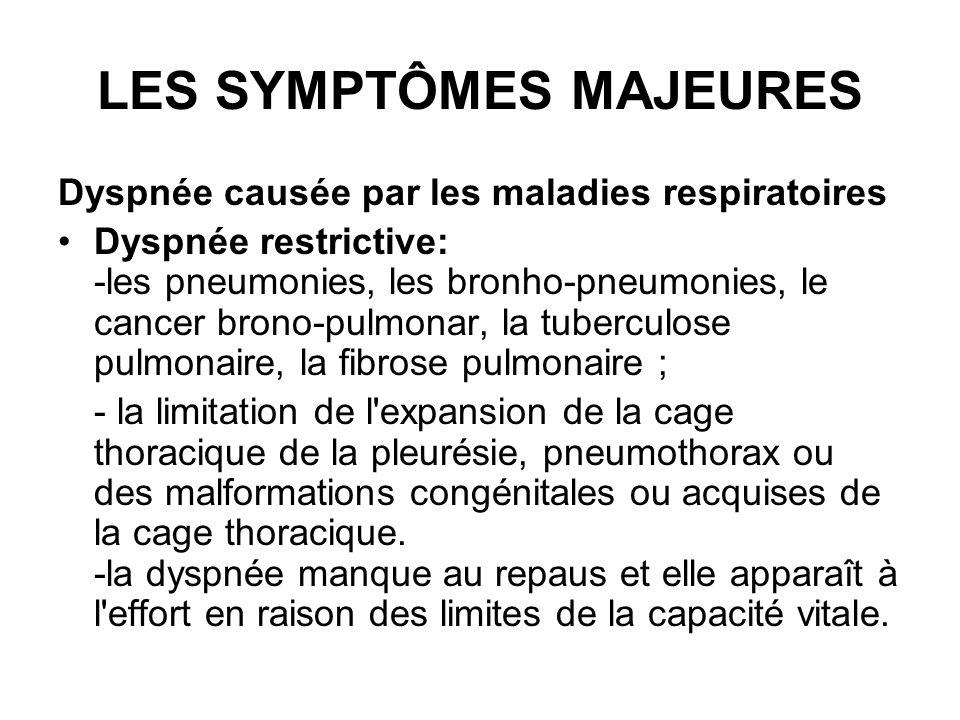 LES SYMPTÔMES MAJEURES Dyspnée causée par les maladies respiratoires Dyspnée restrictive: -les pneumonies, les bronho-pneumonies, le cancer brono-pulm