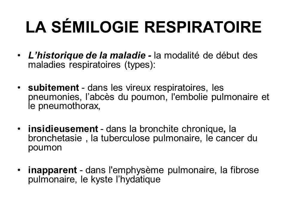 LA SÉMILOGIE RESPIRATOIRE En ce qui concern les possibilités évolutives des maladies pulmonaires on remerque: -levolution aigue caractéristique de l asthme bronchique, pneumonie virale / bactérienne; -levolution chronique avec des rechutes, spécifiques aux bronchites chroniques, broncho-pneumopatahies chroniques obstructives, bronchetasies ou les alvéolites allergiques exogènes.