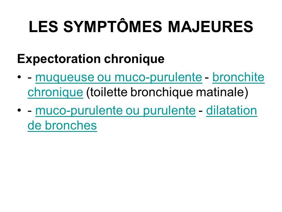 LES SYMPTÔMES MAJEURES Expectoration chronique - muqueuse ou muco-purulente - bronchite chronique (toilette bronchique matinale)muqueuse ou muco-purul