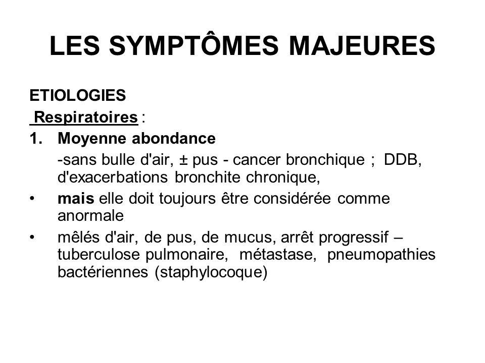 LES SYMPTÔMES MAJEURES ETIOLOGIES Respiratoires : 1.Moyenne abondance -sans bulle d'air, ± pus - cancer bronchique ; DDB, d'exacerbations bronchite ch