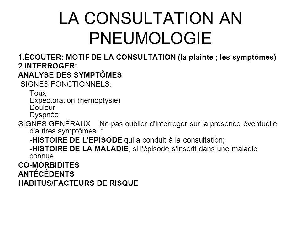 LA CONSULTATION AN PNEUMOLOGIE 1.ÉCOUTER: MOTIF DE LA CONSULTATION (la plainte ; les symptômes) 2.INTERROGER: ANALYSE DES SYMPTÔMES SIGNES FONCTIONNEL