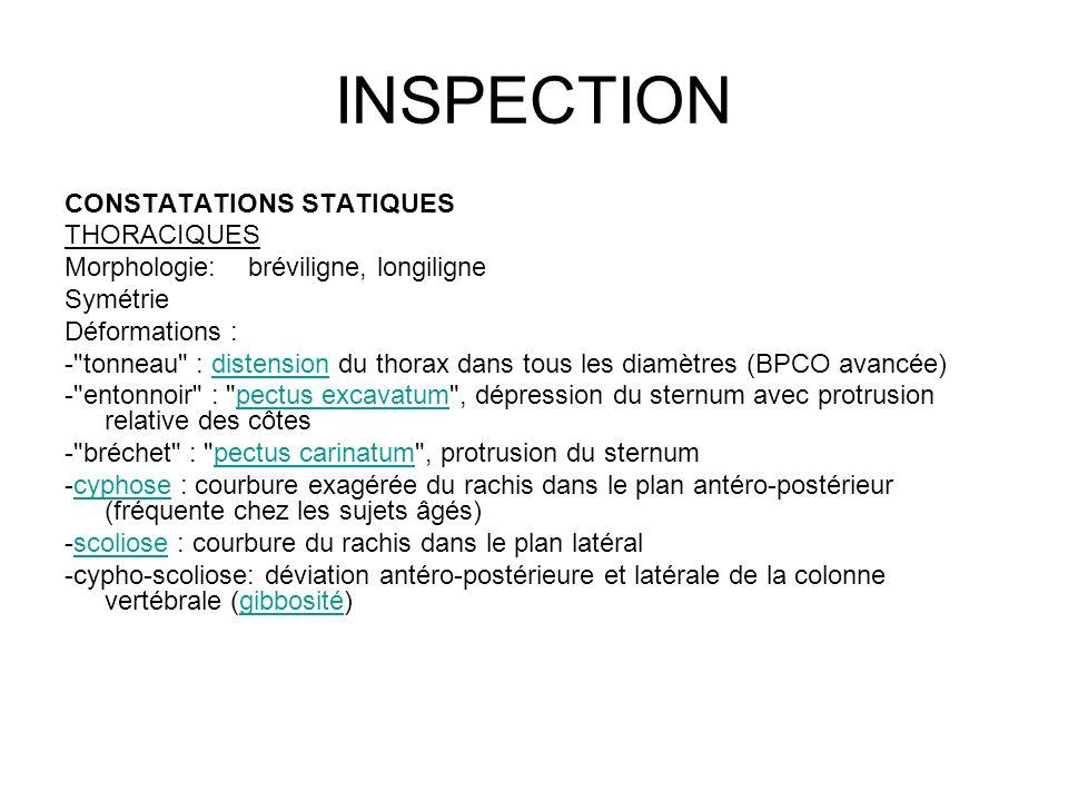 INSPECTION CONSTATATIONS STATIQUES THORACIQUES Morphologie: bréviligne, longiligne Symétrie Déformations : -