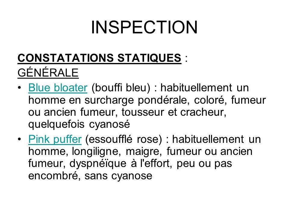 INSPECTION CONSTATATIONS STATIQUES : GÉNÉRALE Blue bloater (bouffi bleu) : habituellement un homme en surcharge pondérale, coloré, fumeur ou ancien fu
