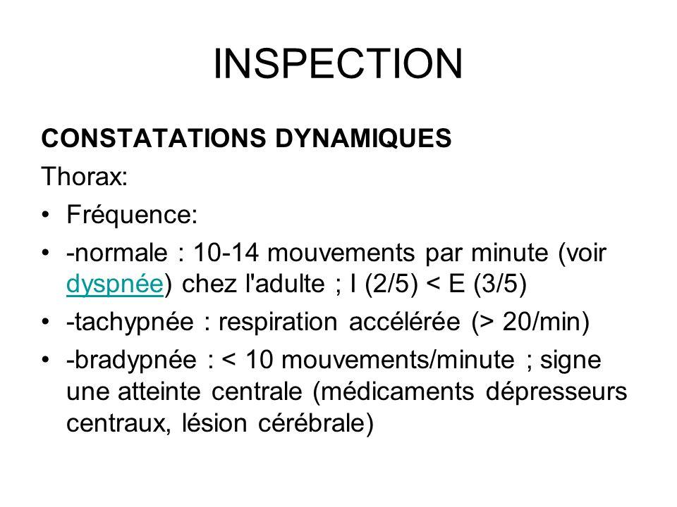 INSPECTION CONSTATATIONS DYNAMIQUES Thorax: Fréquence: -normale : 10-14 mouvements par minute (voir dyspnée) chez l'adulte ; I (2/5) < E (3/5) dyspnée
