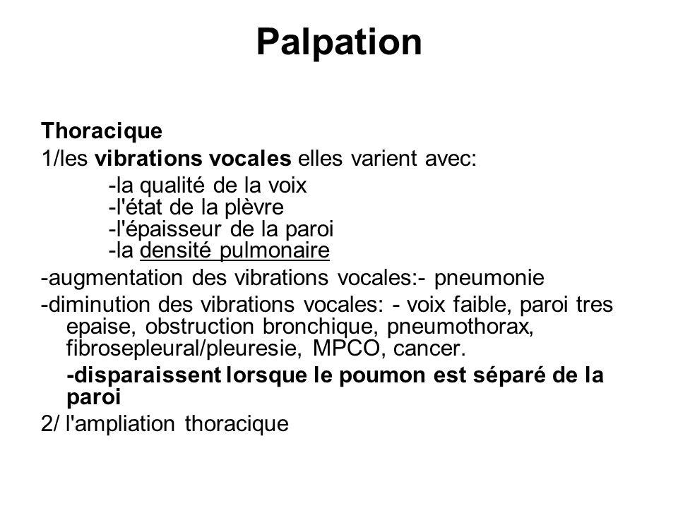 Palpation Thoracique 1/les vibrations vocales elles varient avec: -la qualité de la voix -l'état de la plèvre -l'épaisseur de la paroi -la densité pul