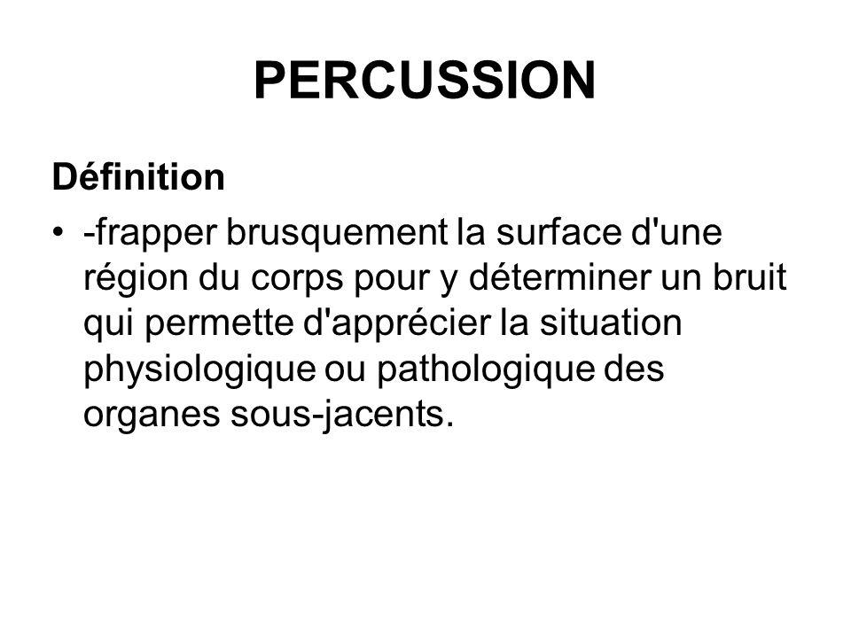 PERCUSSION Définition -frapper brusquement la surface d'une région du corps pour y déterminer un bruit qui permette d'apprécier la situation physiolog