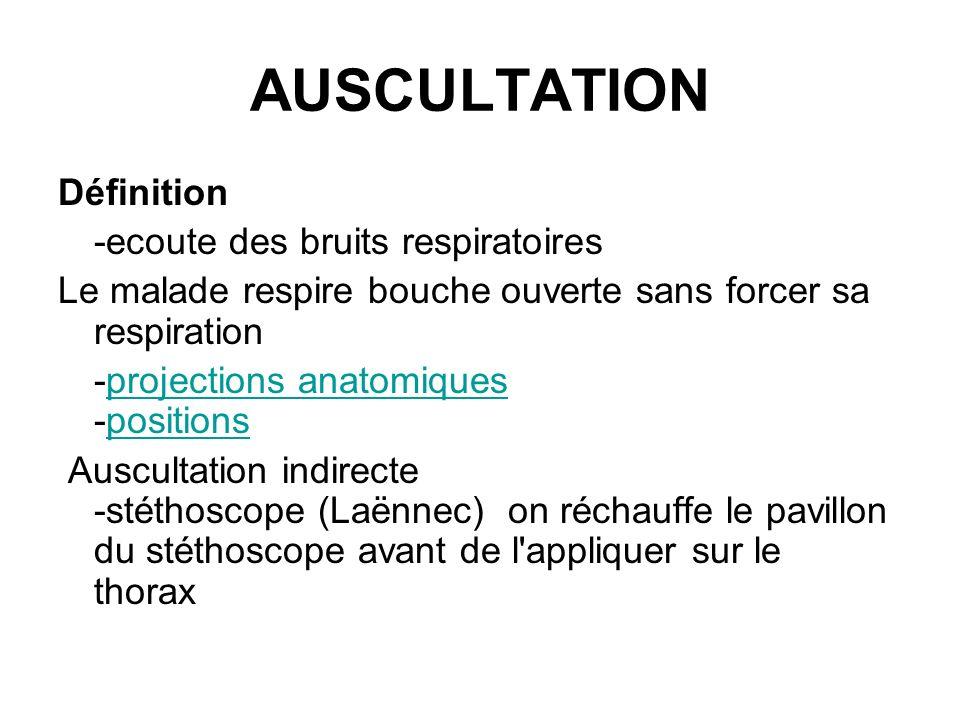 AUSCULTATION Définition -ecoute des bruits respiratoires Le malade respire bouche ouverte sans forcer sa respiration -projections anatomiques -positio