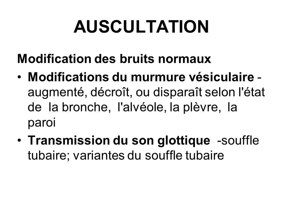 AUSCULTATION Modification des bruits normaux Modifications du murmure vésiculaire - augmenté, décroît, ou disparaît selon l'état de la bronche, l'alvé