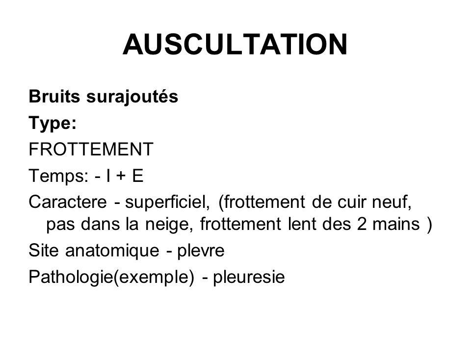 AUSCULTATION Bruits surajoutés Type: FROTTEMENT Temps: - I + E Caractere - superficiel, (frottement de cuir neuf, pas dans la neige, frottement lent d