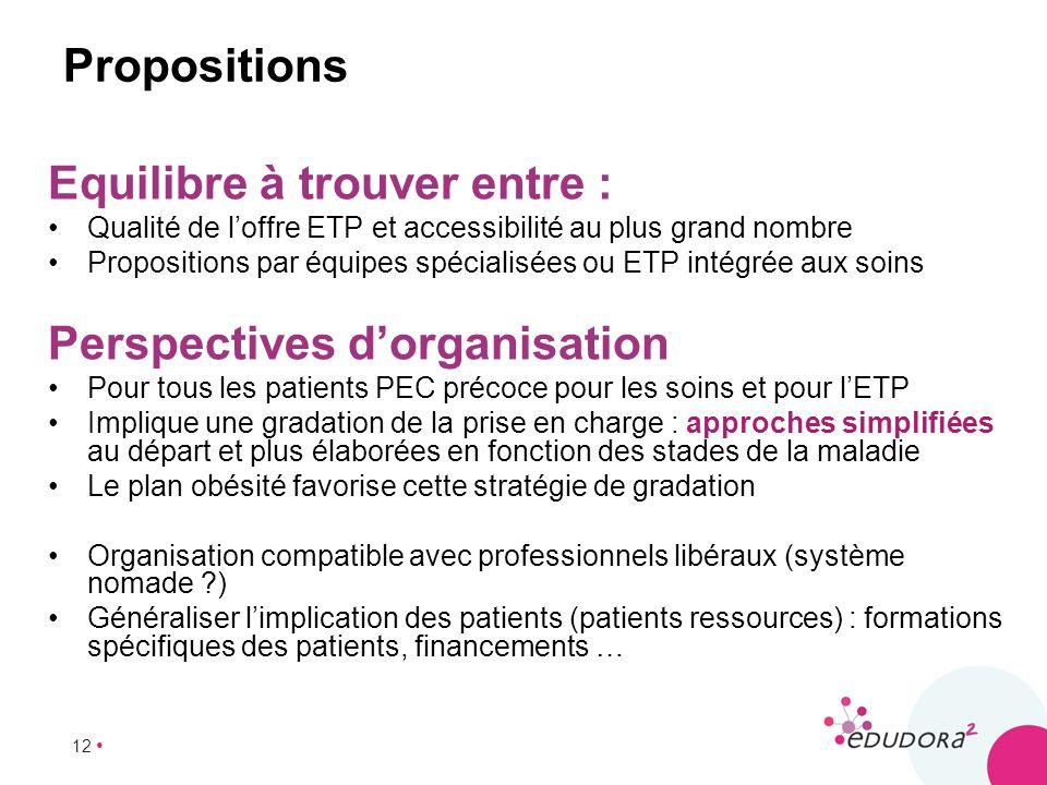 12 Propositions Equilibre à trouver entre : Qualité de loffre ETP et accessibilité au plus grand nombre Propositions par équipes spécialisées ou ETP i
